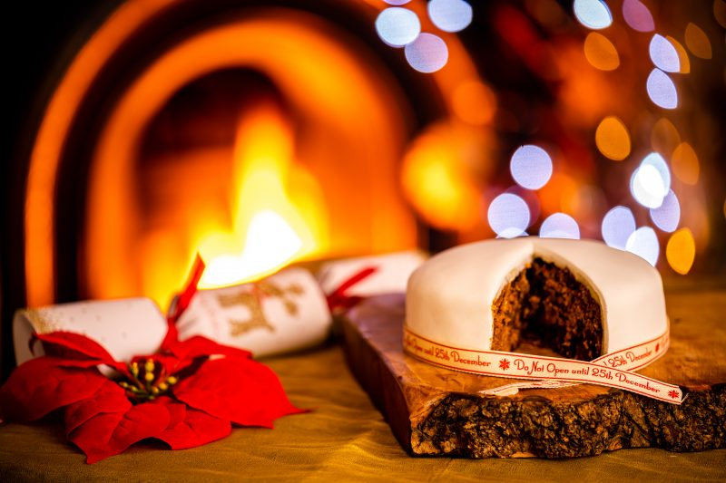 Christams Cake in front of the fire, a perfect christmas